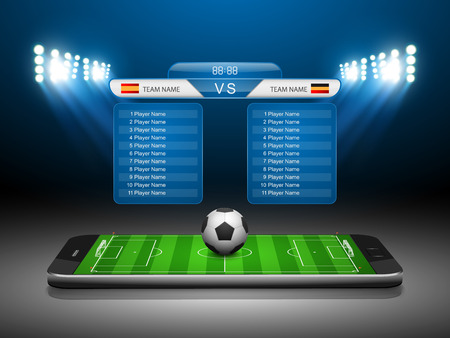 scoreboard: Soccer Online Concept, Soccer field on smartphone , vector illustration