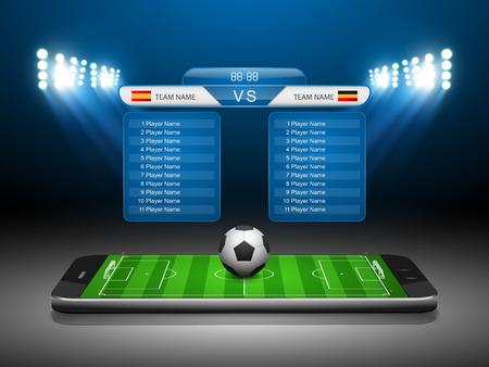 Soccer Online-Konzept, Fußballplatz auf dem Smartphone, Vektor-Illustration