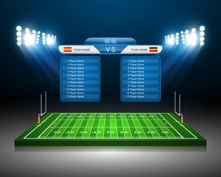 kickoff: American Football field, vector