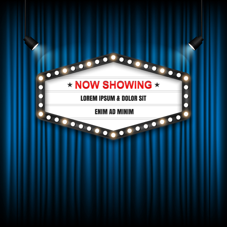 theatre: Showtime Sign, Theatre cinema Sign, Vector illustration. Illustration