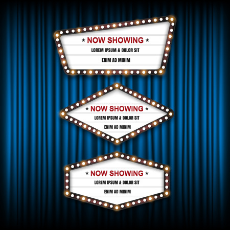 Showtime Sign, Theatre cinema Sign, Vector illustration. Ilustracja