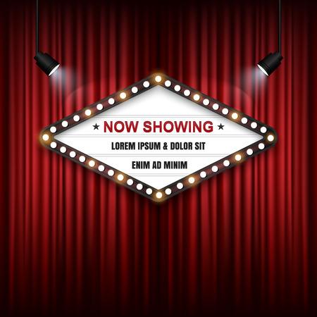 Showtime Sign, Theatre cinema Sign, Vector illustration. Illustration
