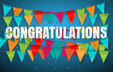 Congratulazione Sfondo con bandiere, vettore Vettoriali