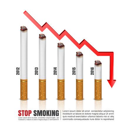 auscultation: Cigarettes Graph,Cigarettes infographics,vector