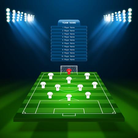 Soccer field, vector Stock Illustratie