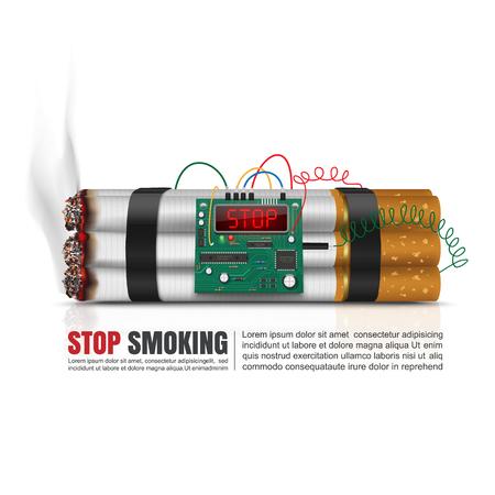 time bomb: World no tobacco day concept, Cigarettes time bomb, Vector Illustration