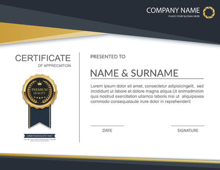 certificate design: Modern Certificate template design. Certificate of achievement. Illustration