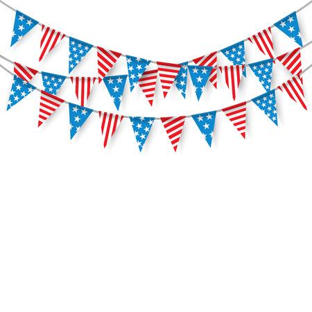 Bunting Banderas, Banderas Bunting colgantes para las fiestas americanas, banderas del partido.