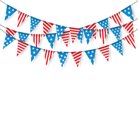 Bunting Vlaggen, Opknoping Bunting Vlaggen voor de Amerikaanse feestdagen, vlaggen Party.