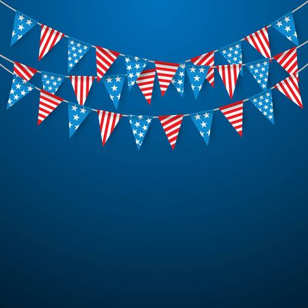 banderas americanas: Bunting Flags, Hanging Bunting Flags for American Holidays, Party flags.