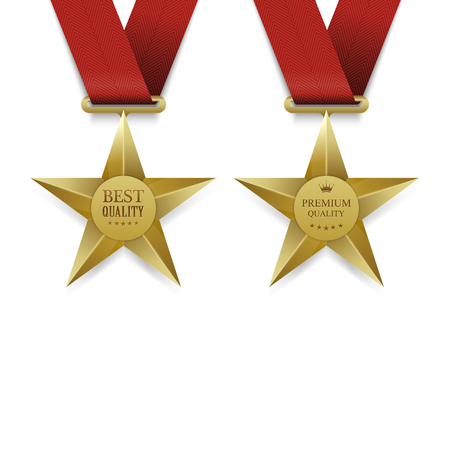 webshop: Gold Star medal Premium quality, Gold Star medal best quality. Illustration