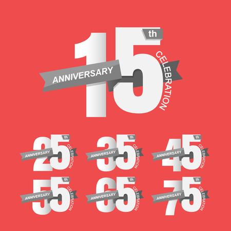 anniversary celebration: Set of anniversary signs, Anniversary Celebration. Illustration