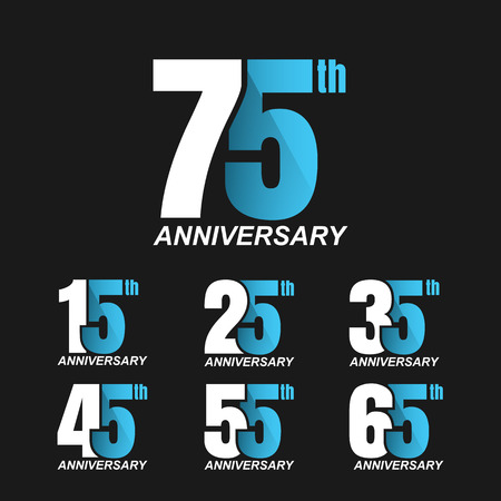 65th: Set of anniversary signs, Anniversary Celebration. Illustration