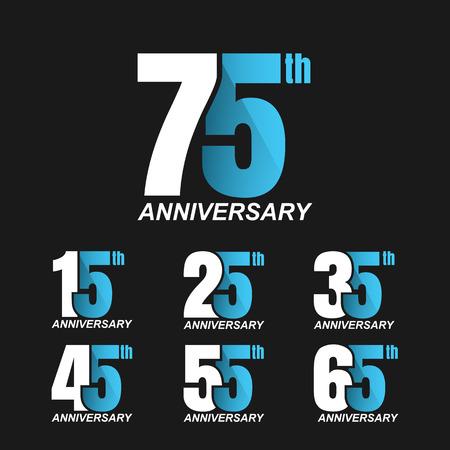Set of anniversary signs, Anniversary Celebration. Stock Illustratie