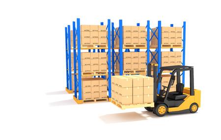 rack: Forklift with Pallet rack.3D Illustration