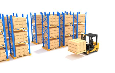 Forklift with Pallet rack.3D Illustration