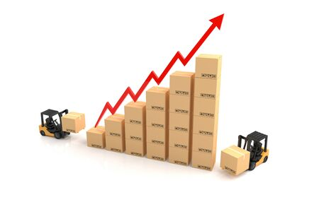 economic: Business graph, Forklift with Cardboard graph. 3D Illustration Stock Photo