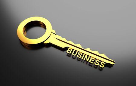 la union hace la fuerza: concepto de negocio, llave de oro con el asunto de la palabra. Ilustración 3D Foto de archivo