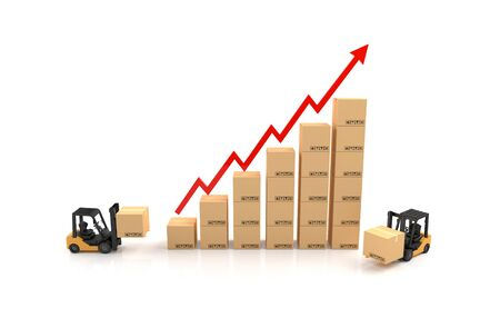 commissions: Business graph, Forklift with Cardboard graph. 3D Illustration Stock Photo