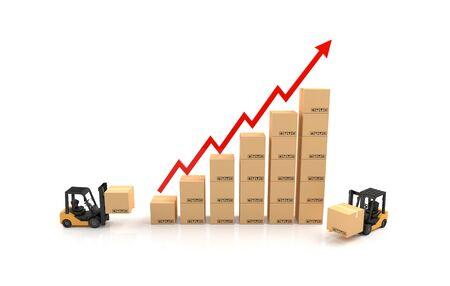 cajas de carton: Gráfico de negocio, Carretilla elevadora con el gráfico de cartón. Ilustración 3D Foto de archivo