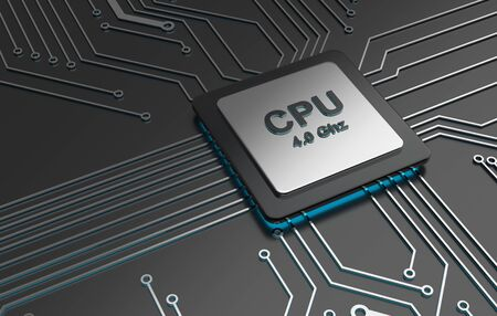 processors: Central computer processors, CPU computer technology, Electronic concept. 3D illustration