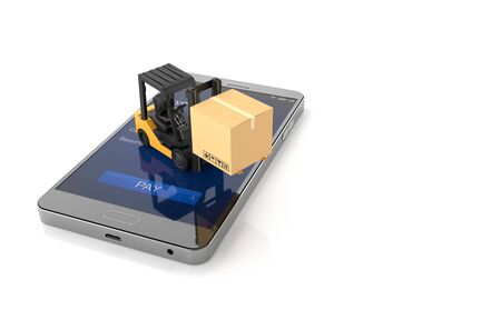 Online shopping concept, Smartphone with Forklift .3D Illustration