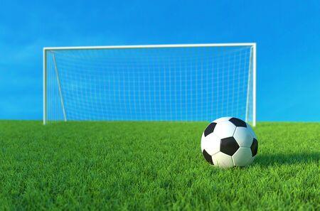 Soccer ball on green grass, Football Goal and ball. 3D illustration