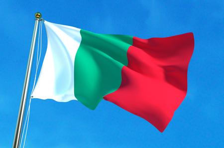 Flag of Bulgaria on the blue sky background. 3D illustration