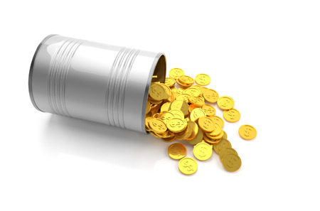 Saving money concept, Golden coins in a metal can on white background. 3D illustration