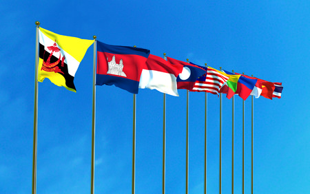 Asean Economic Community flags on the blue sky background. 3D illustration Zdjęcie Seryjne