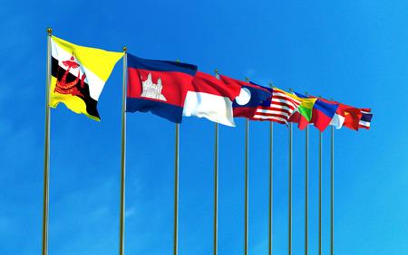 banderas Comunidad Económica de ASEAN en el fondo de cielo azul. ilustración 3D