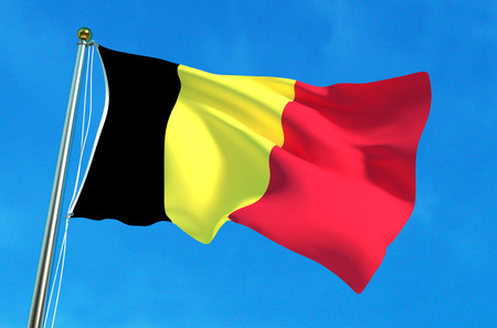 Flag of Belgium on the blue sky background. 3D illustration