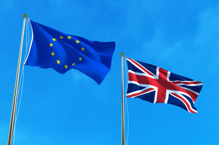 EU and UK flags on the blue sky background. 3D illustration