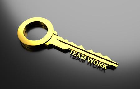 la union hace la fuerza: concepto de negocio, llave de oro con el trabajo de la palabra equipo. Ilustración 3D