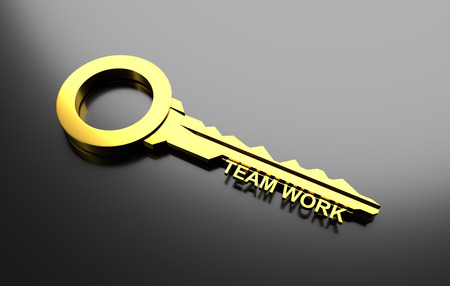 Business concept, Golden key with word Team work. 3D Illustration Stock Photo
