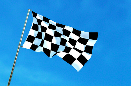 f1: Checkered flag waving on the blue sky background. 3D illustration