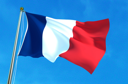 francaise: France flag on the sky background. 3D illustration