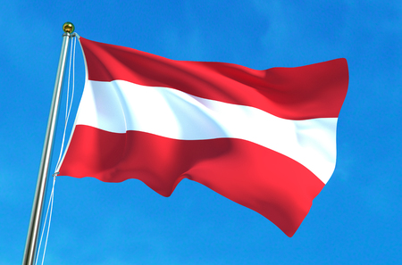Flag of Austria on the blue sky background. 3D illustration