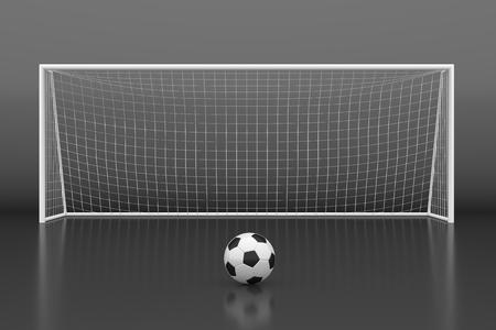 metas: Meta del fútbol con la pelota. ilustración 3D Foto de archivo