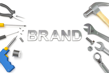 perceive: Brand concept, Brand word with tools background. 3D Illustration