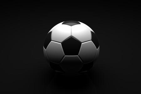 balones deportivos: Concepto del fútbol, ??balón de fútbol sobre fondo negro. ilustración 3D