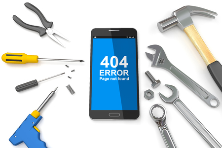 communication tools: 404 error page, Page 404 error on Smartphone with tools. 3D illustration Stock Photo