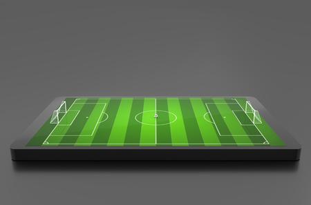 cancha de futbol: campo de fútbol, ??el concepto Estadio, Fútbol. ilustración 3D