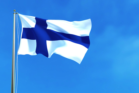finnish: Flag of Finland on the blue sky background. 3D illustration Stock Photo