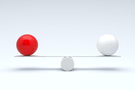 structure metal: Balls balancing, Balanced concept. 3D illustration Stock Photo
