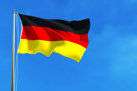 emigration: Flag of Germany on the blue sky background. 3D illustration Stock Photo