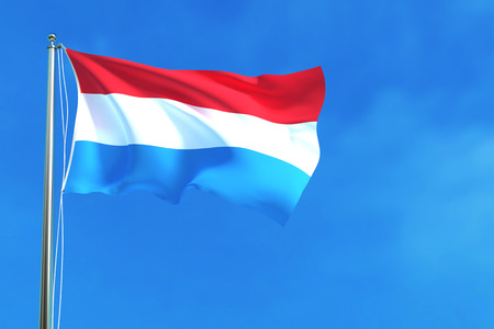 Flag of Luxembourg Republic on the blue sky background. 3D illustration