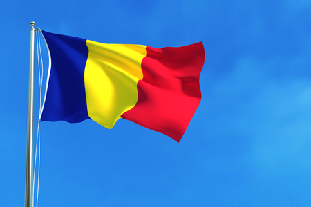 Flag of Romania on the blue sky background. 3D illustration