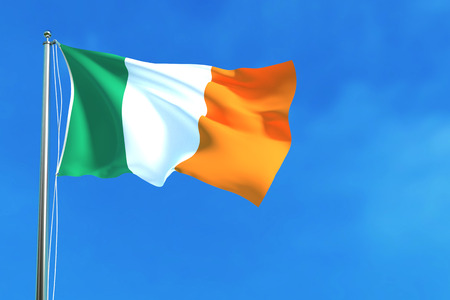 Flag of Ireland on the blue sky background. 3D illustration Stock Photo