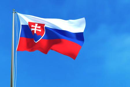 slovakian: Flag of Slovakia on the blue sky background. 3D illustration